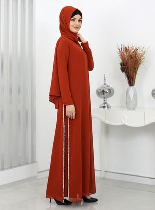 Terra Cotta - Crew neck - Fully Lined - Modest Dress