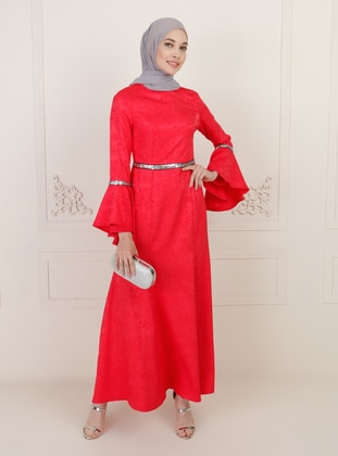 Coral - Unlined - Crew neck - Modest Evening Dress