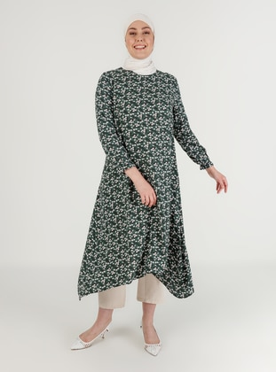 Emerald - Floral - Crew neck - Plus Size Tunic