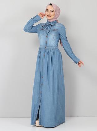 Blue - Unlined - Modest Dress