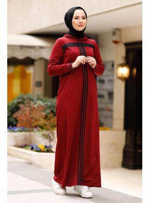 Unlined - Maroon - Modest Dress