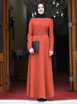 Terra Cotta - Unlined - Crew neck - Modest Evening Dress