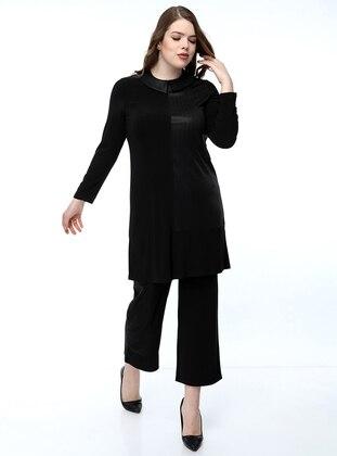 Black - Crew neck - Evening Suit
