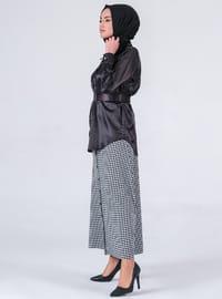 White - Black - Houndstooth - Unlined - Skirt
