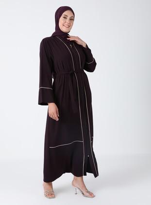 Plum - Unlined - V neck Collar - Abaya