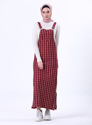 Maroon - Plaid - Unlined - Modest Dress