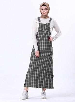 Green - Plaid - Unlined - Modest Dress