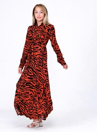 Terra Cotta - Multi - Point Collar - Unlined - Modest Dress