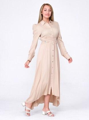 Beige - Point Collar - Unlined - Modest Dress