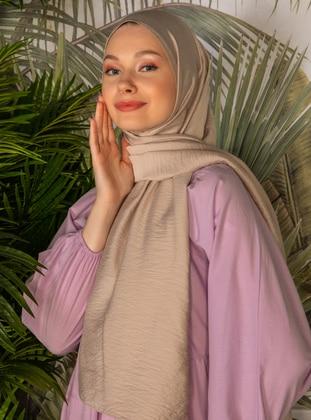 Camel - Striped - Plain - Viscose - Shawl