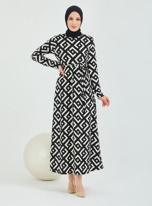 White - Black - Multi - Crew neck - Modest Dress
