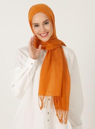 Orange - Plain - Fringe - Viscose - Shawl