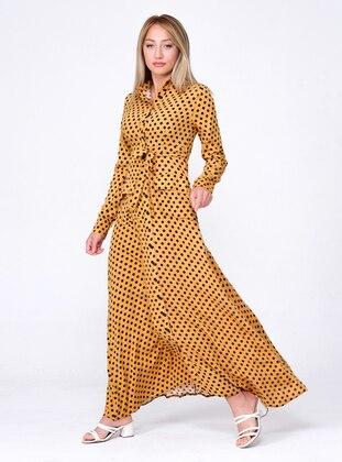 Mustard - Polka Dot - Point Collar - Unlined - Modest Dress