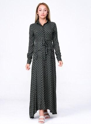 Green - Polka Dot - Point Collar - Unlined - Modest Dress