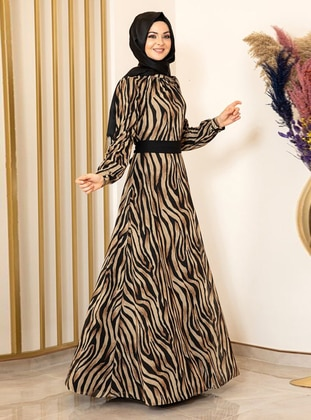 Black - Zebra - Crew neck - Fully Lined - Modest Dress