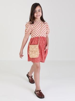 Floral - Polo neck - Terra Cotta - Girls` Dress - Refka Kids