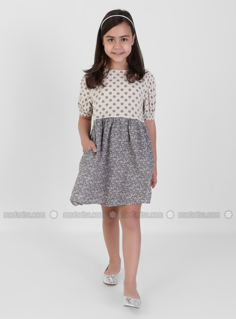 Floral - Polo neck - Lilac - Girls` Dress
