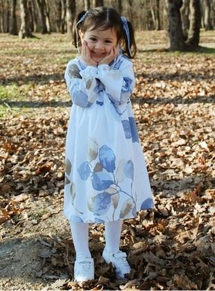 Multi - Round Collar - Unlined - White - Girls` Dress