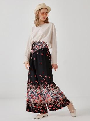 Black - Floral - Pants