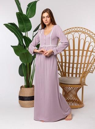 Purple - Crew neck - Nightdress - Artış Collection