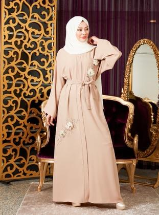 Cream - Unlined - V neck Collar - Abaya