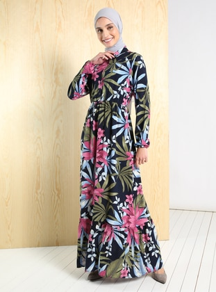 Pink - Floral - Point Collar - Unlined - Modest Dress