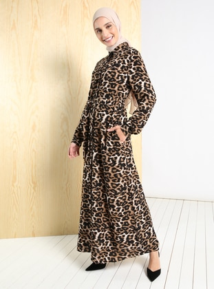 Leopard - Leopard - Point Collar - Unlined - Modest Dress