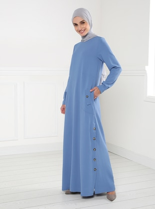 Blue - Crew neck - Unlined - Modest Dress