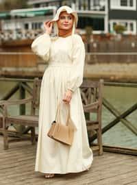 Cream - Crew neck - Unlined - Modest Dress