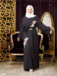 Gray - Unlined - V neck Collar - Abaya