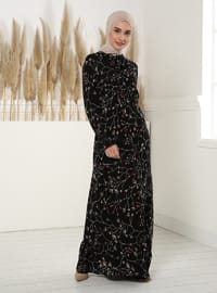 Red - Black - Floral - Polo neck - Unlined - Modest Dress