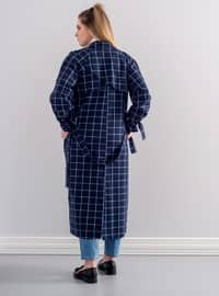 Navy Blue - Checkered - Fully Lined - Shawl Collar - Trench Coat
