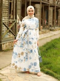 Blue - Multi - Crew neck - Unlined - Modest Dress
