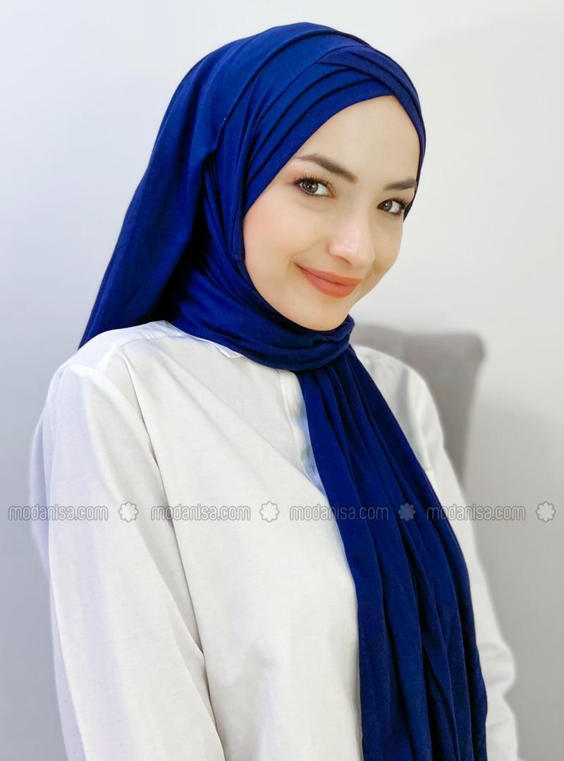 Navy Blue - Plain - Combed Cotton - Shawl