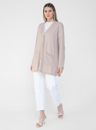 Beige - V neck Collar - Plus Size Cardigan - Alia