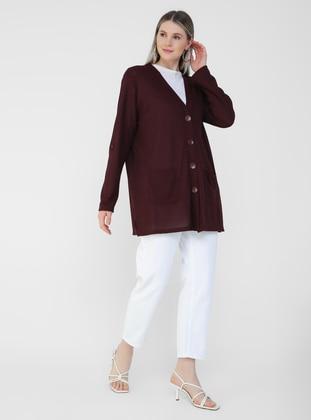 Maroon - V neck Collar - Plus Size Cardigan - Alia