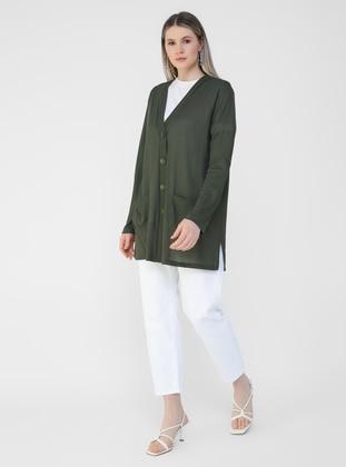 Khaki - V neck Collar - Plus Size Cardigan