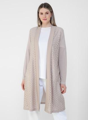 Beige - Plus Size Cardigan - Alia