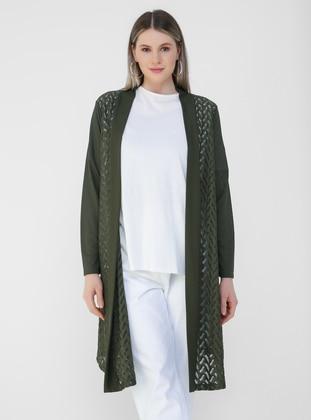 Khaki - Plus Size Cardigan - Alia