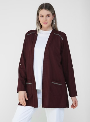 Maroon - Plus Size Cardigan
