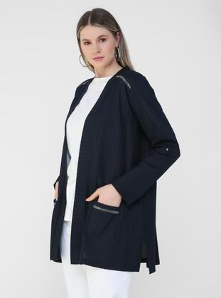 Navy Blue - Plus Size Cardigan
