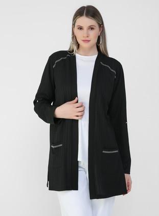 Black - Plus Size Cardigan - Alia