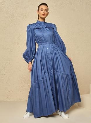 Indigo - Point Collar - Unlined - Modest Dress