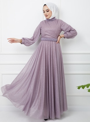 Lilac - Silvery - Fully Lined - Crew neck - Modest Evening Dress