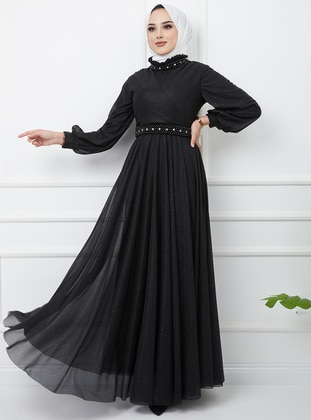 Black - Silvery - Fully Lined - Crew neck - Modest Evening Dress