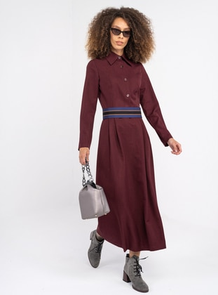 Maroon - Polo - Unlined - Modest Dress