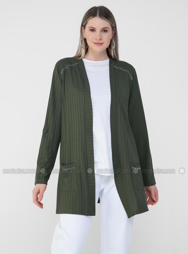 Khaki - Plus Size Cardigan