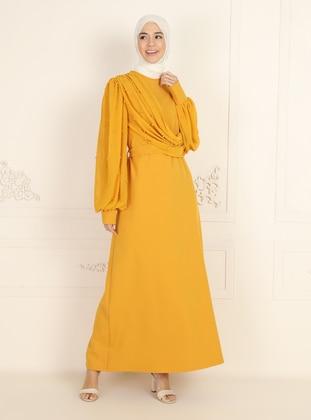 Unlined - Mustard - Crew neck - Evening Dresses