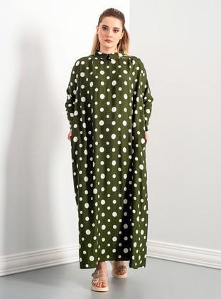 Green - Multi - Round Collar - Unlined - Modest Dress