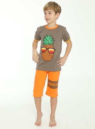 Multi - Crew neck - Unlined - Brown - Orange - Boys` Suit